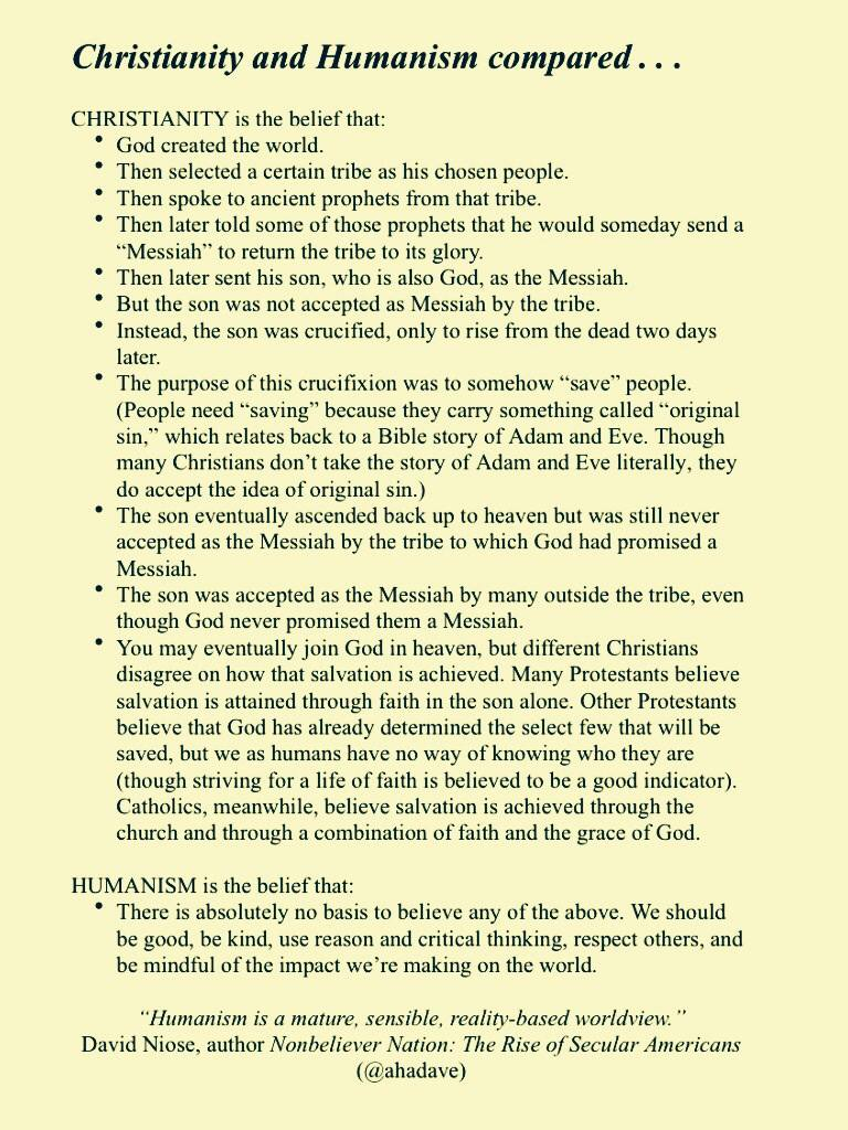 humanism and christianity Is it possible to be both a humanist and a christian [closed] up vote 14 down vote favorite 2 the following definition of a humanist was given by andrew copson  christian humanism may.