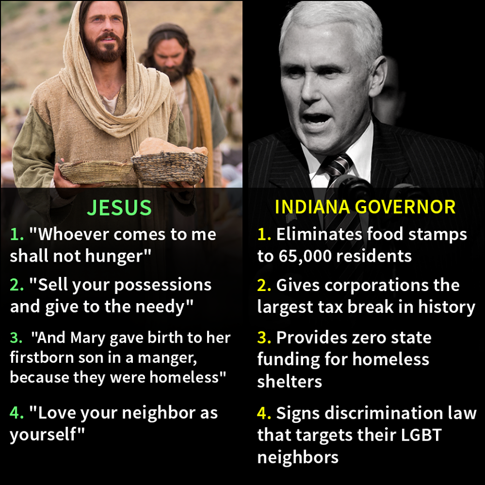 jesus vs indiana governor believers vs non believers