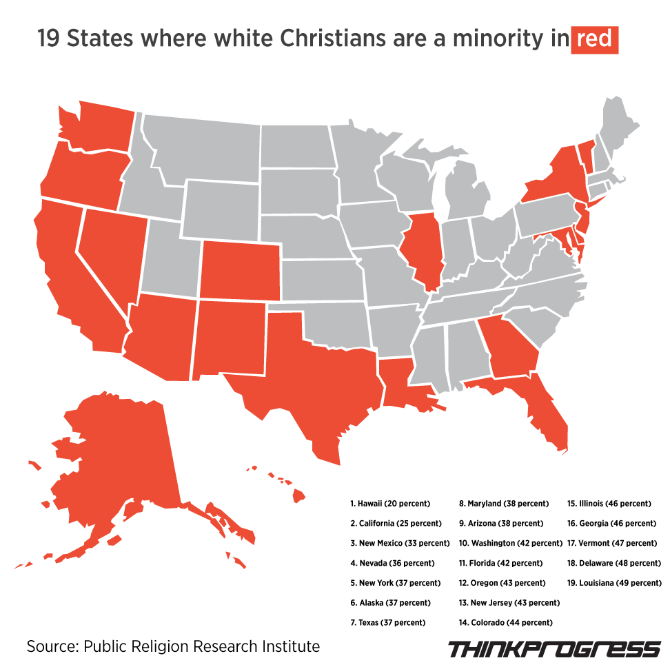 White Christians Are No Longer The Majority In 19 States | Believers vs  Non-Believers